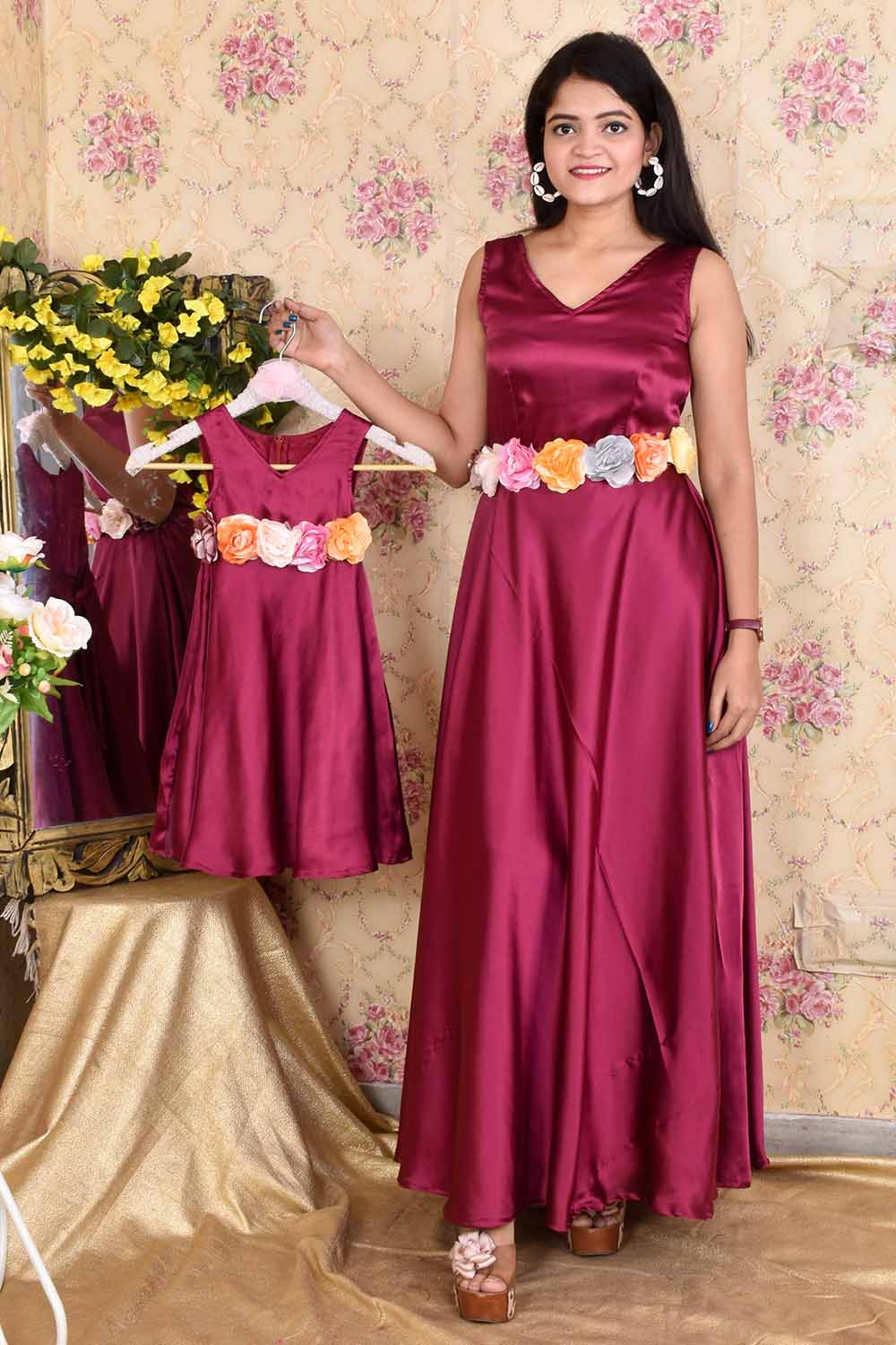 Vine Satin Mother-Daughter Gown Combo