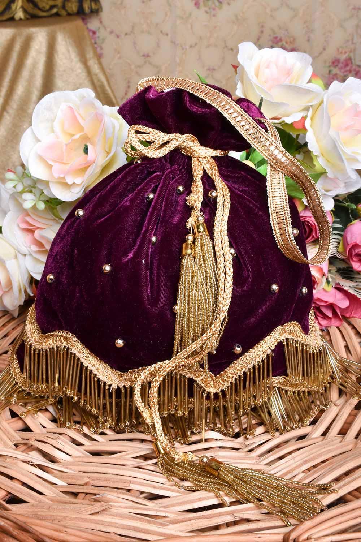 Vine Velvet Potli Bag