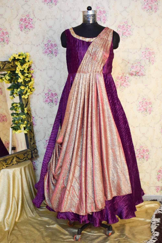Vine Wrinkled Satin Gown with Shimmer Drape