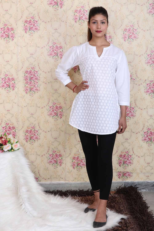 White Chikan Short Kurti