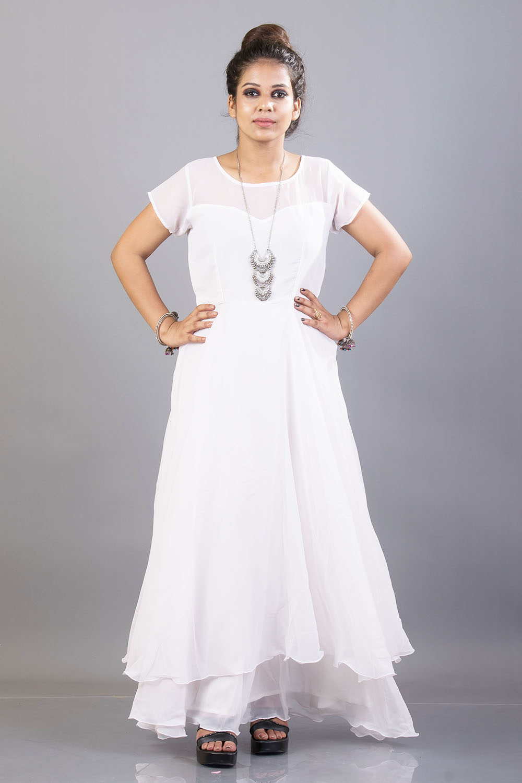 White Double Flared Maxi Dress