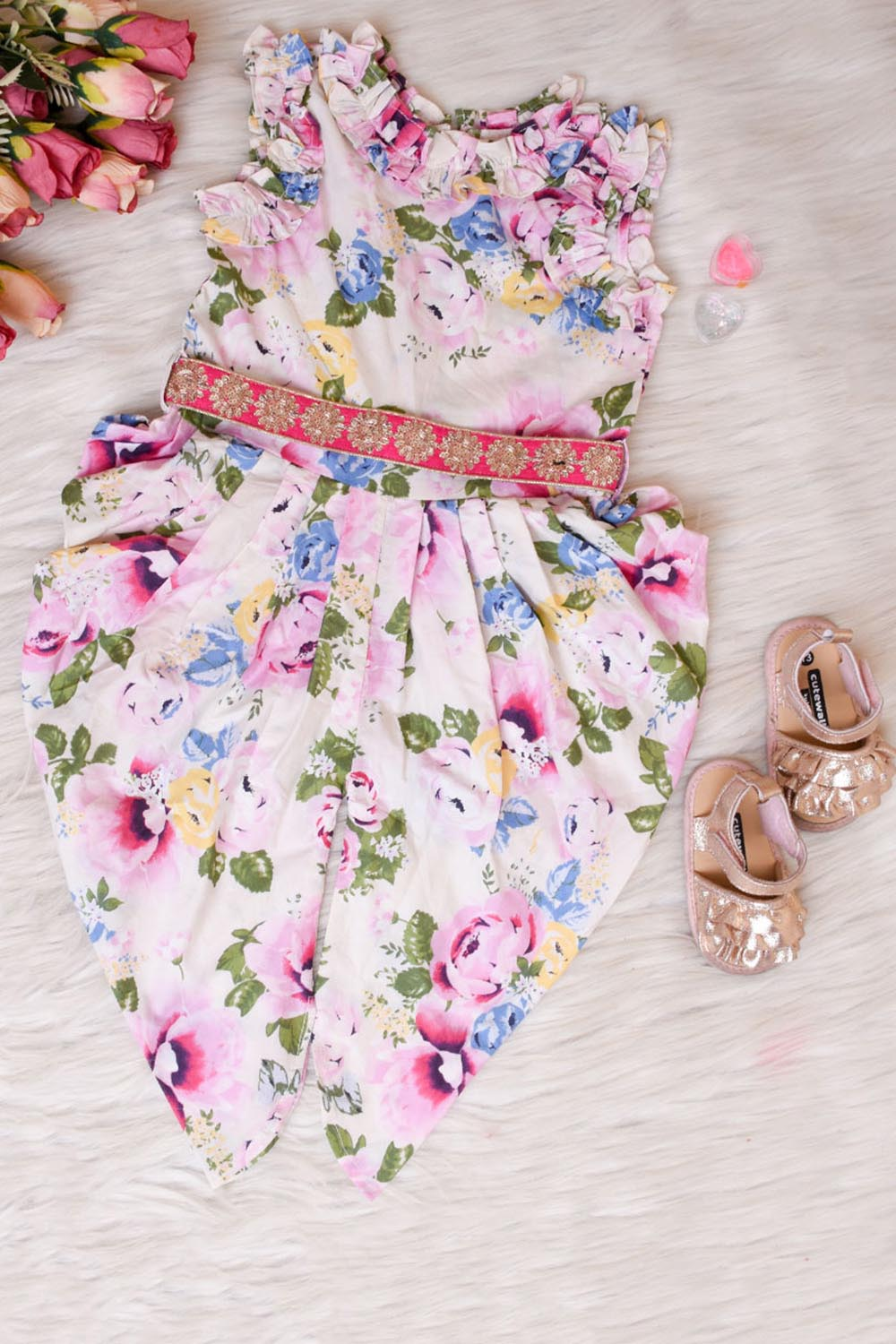 White Floral Printed Indo Western Dress