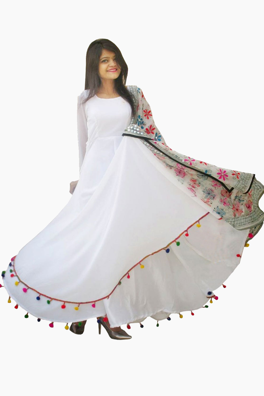 White Georgette Lashkara Anarkali Kurta