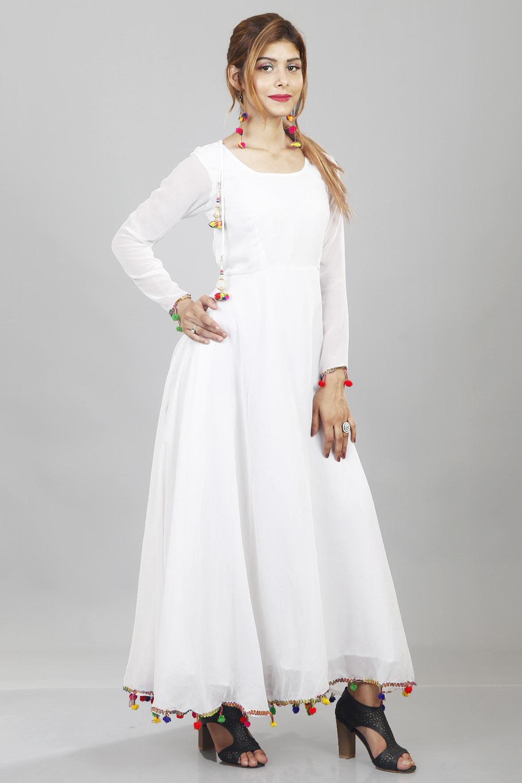 White Lashkara Anarkali