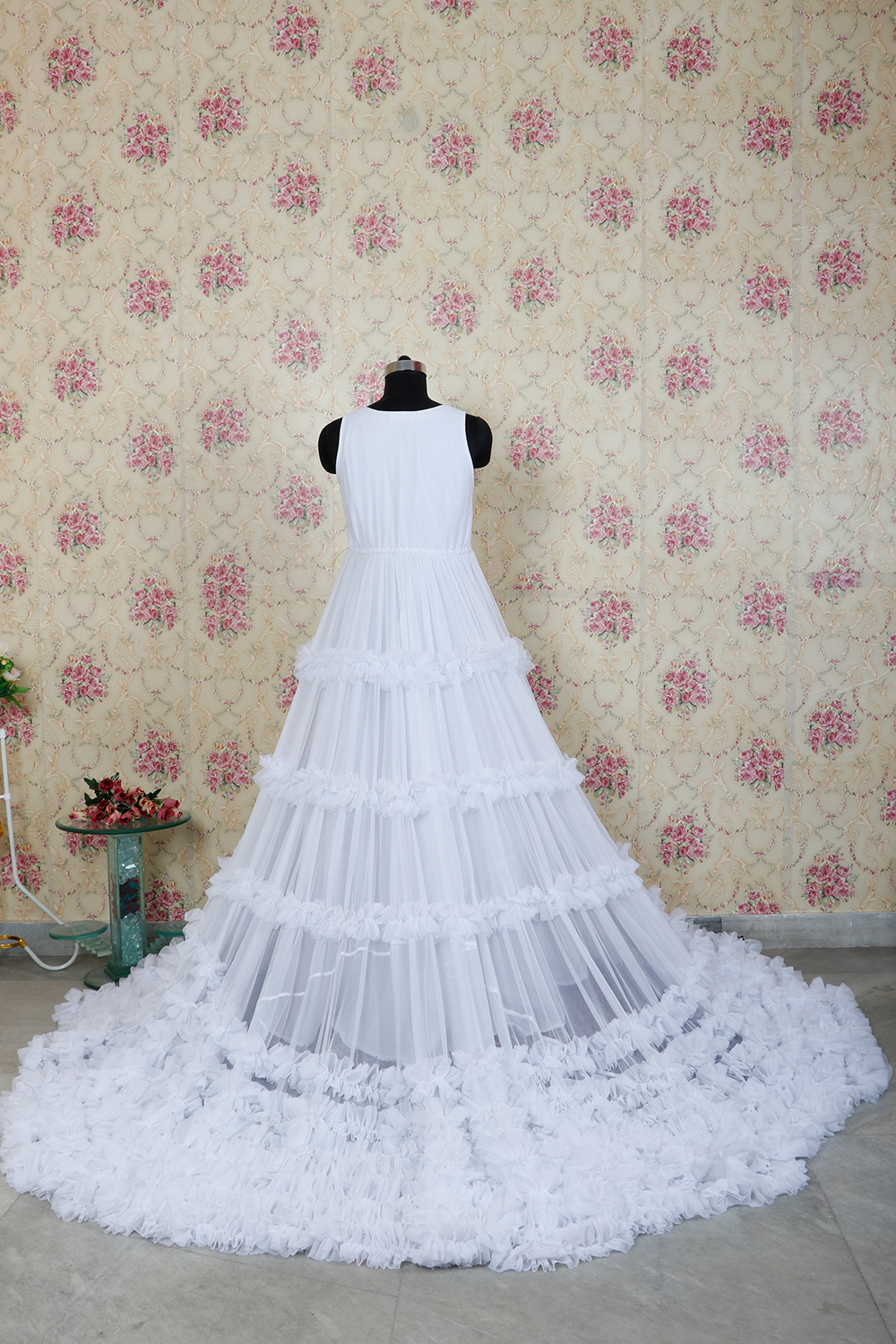 White Net Frill Gown