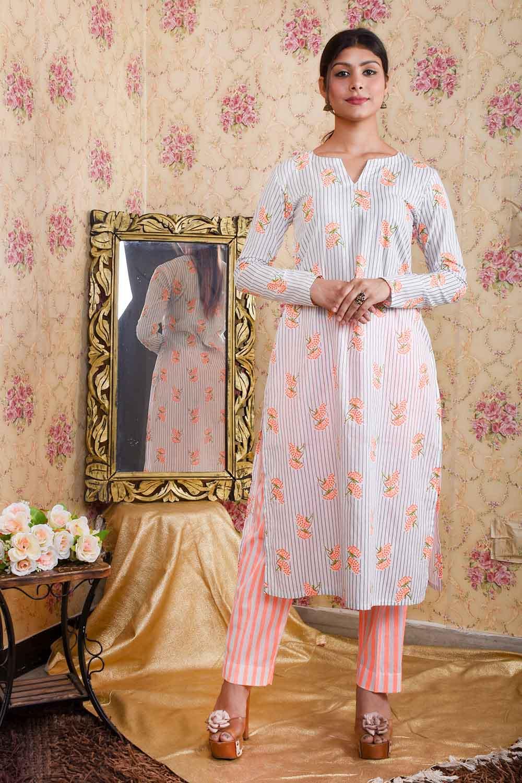 White Orange Printed Kurta Pants set