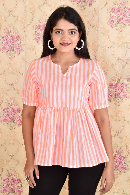 White Orange Striped Cotton top