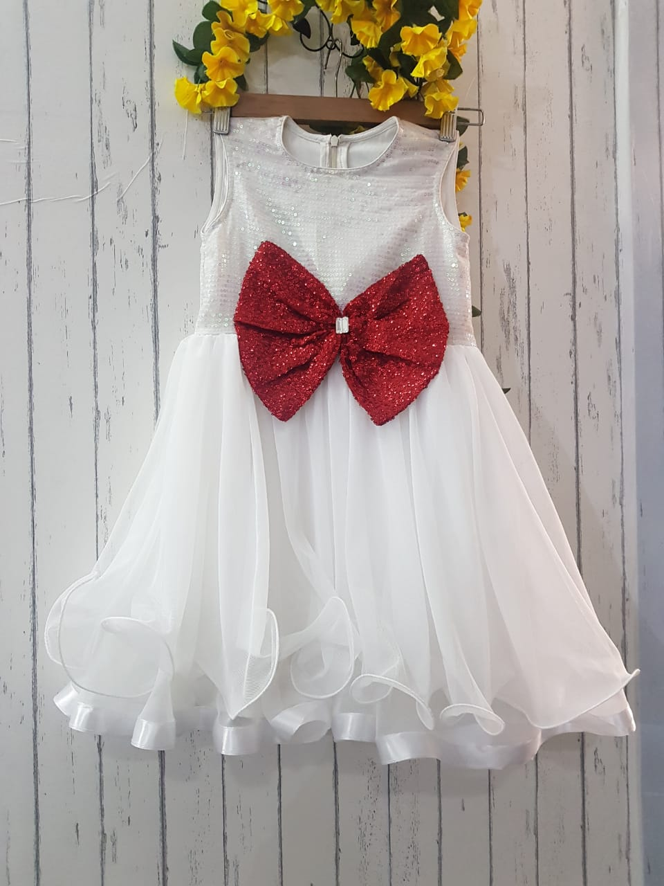 White Sequins baby Dress