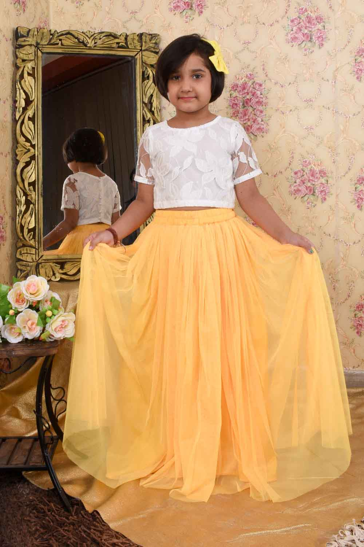 White Yellow Skirt Top Set