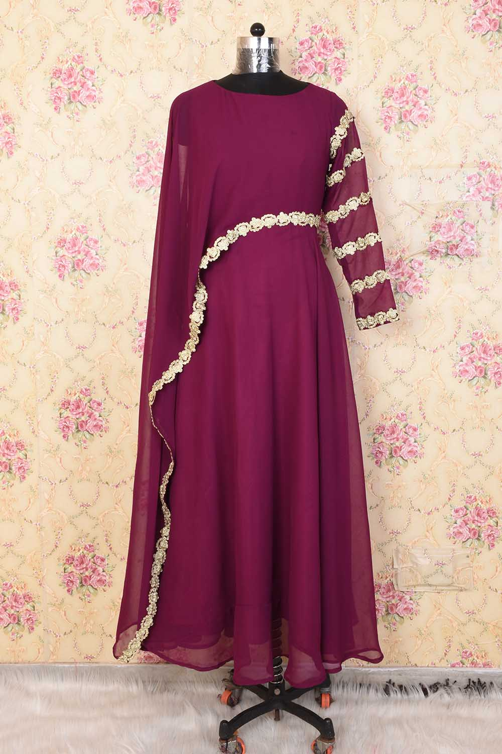 Wine Basic Party Wear Gown