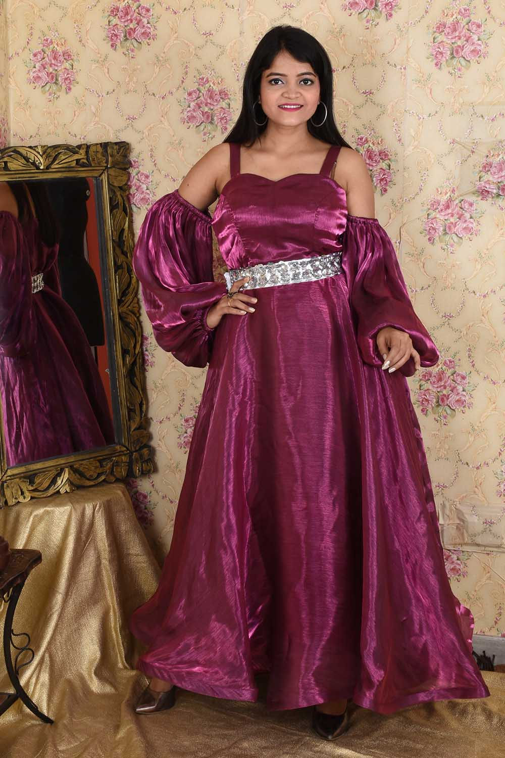 Wine and Silver Anarkali