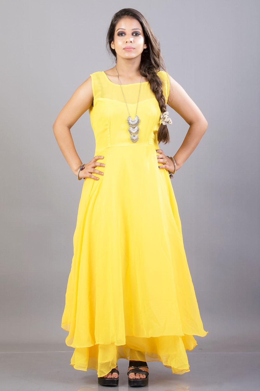 Yellow Double Flared Maxi Dress