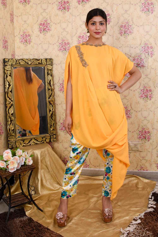 Yellow Draped Kurta and Pants Set