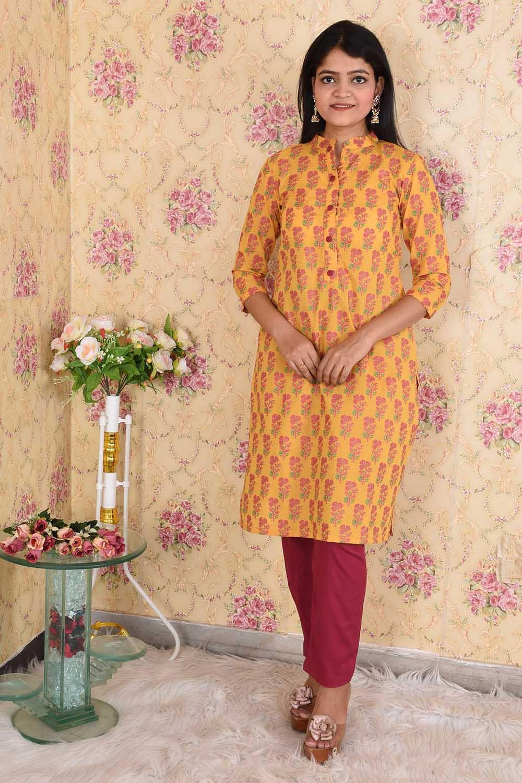 Yellow-Pink Cotton Kurta Set