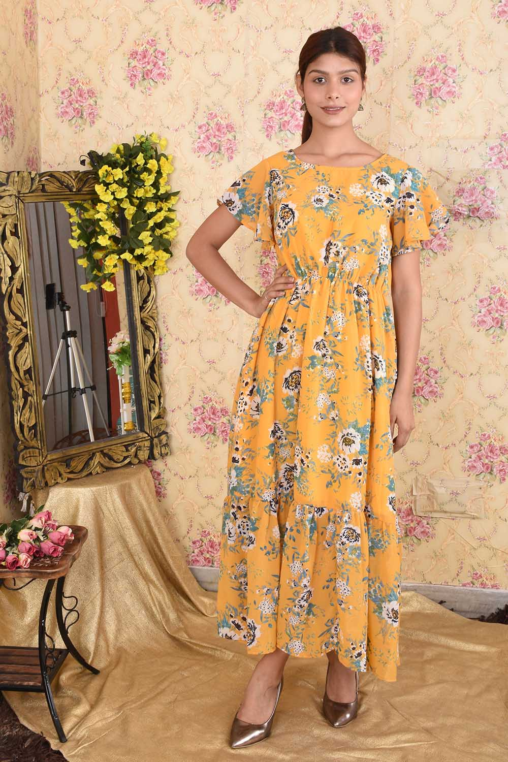 Yellow Printed Georgette Maxi Dress