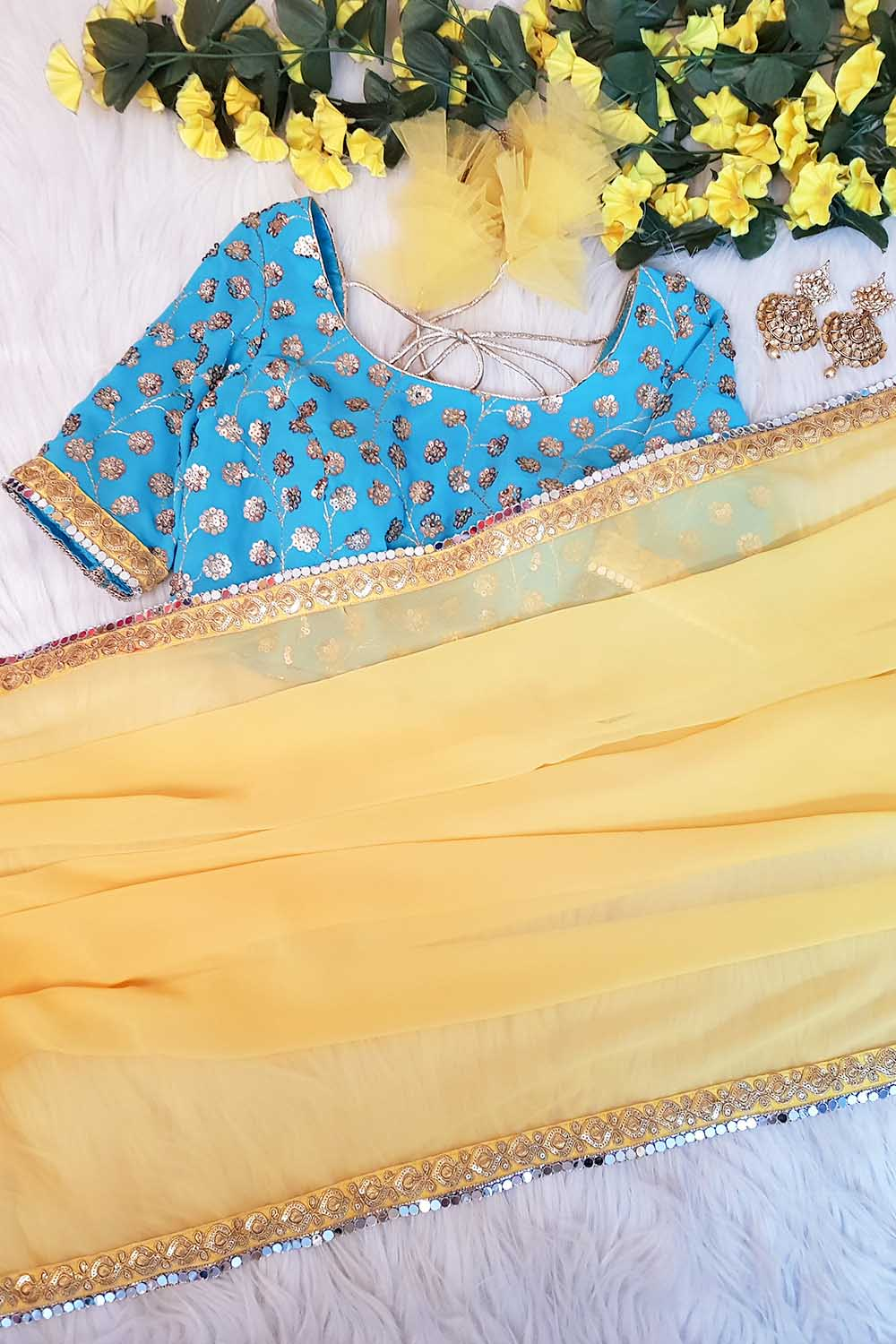 Yellow-Skyblue Embroidered Saree