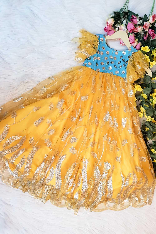 Yellow-Skyblue Partywear Dress