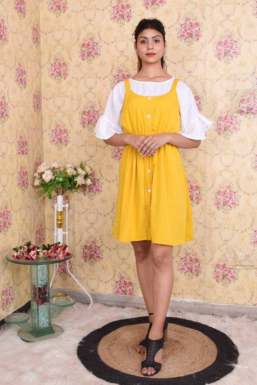 Yellow White Casual Dress