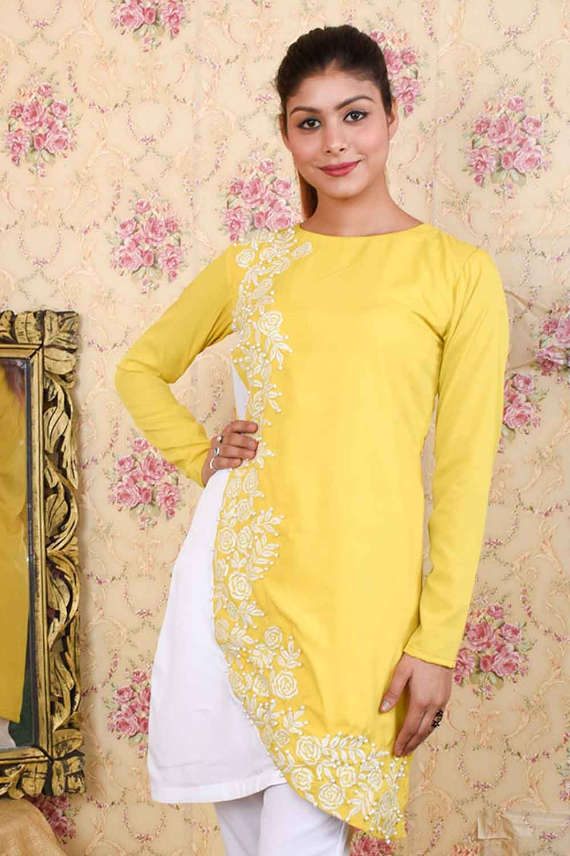 Yellow-White stylish Kurta