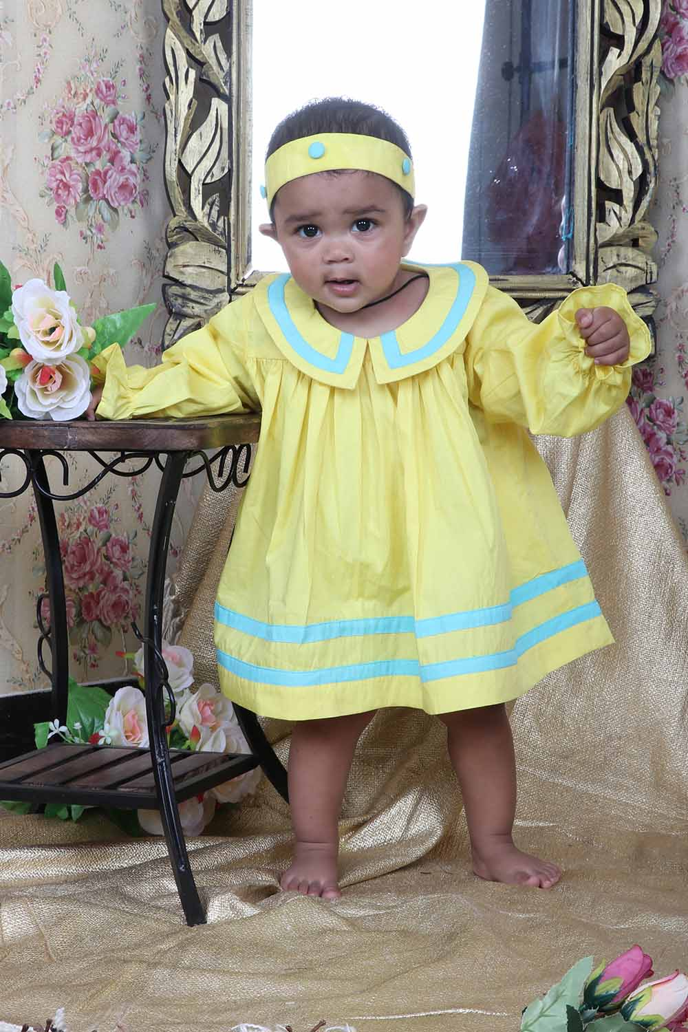 Yellow cotton Frock with matching hairband