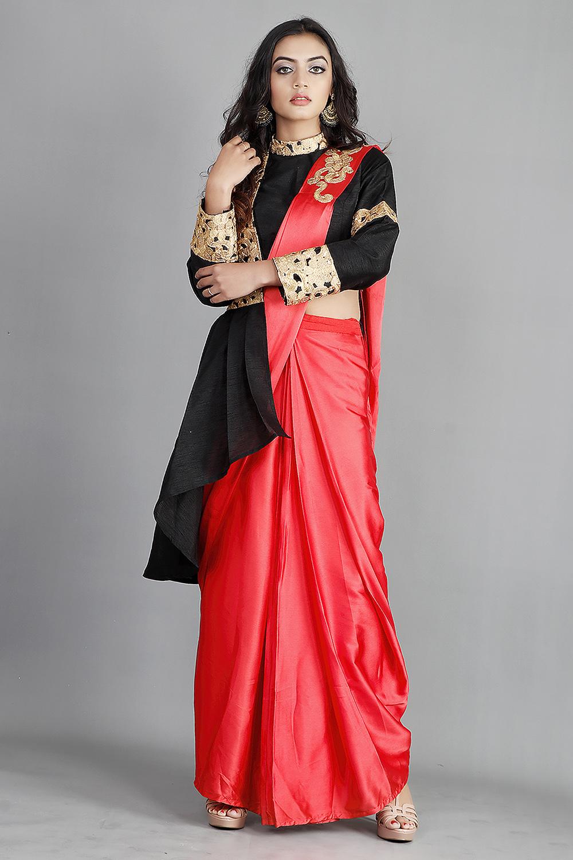 Red Draped Satin Sari With Designer Blouse