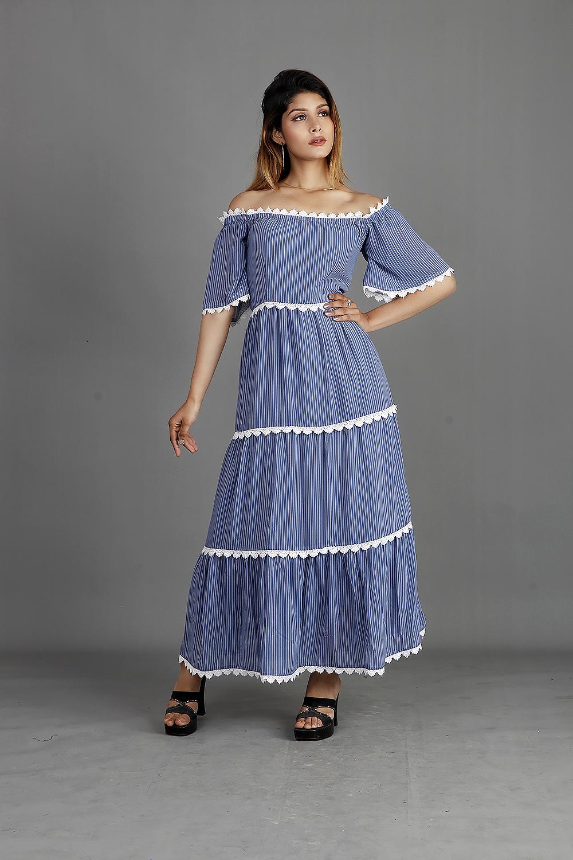 Off Shoulder Striped Blue Maxi Dress