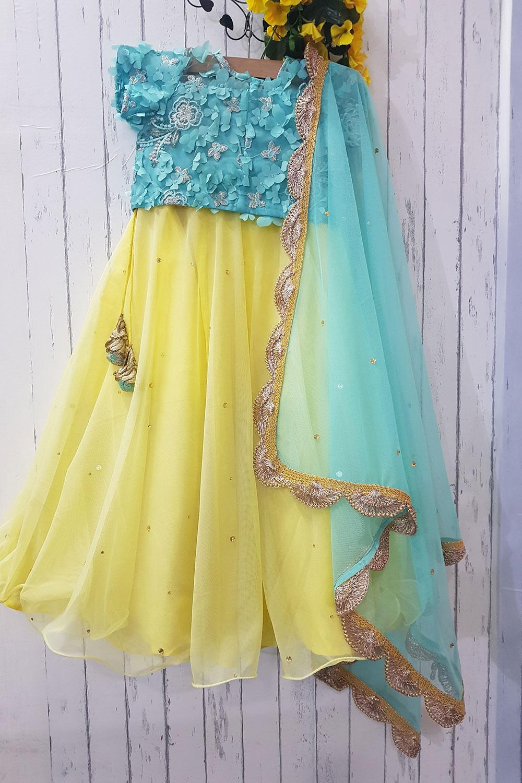 yellow Skyblue Lahenga